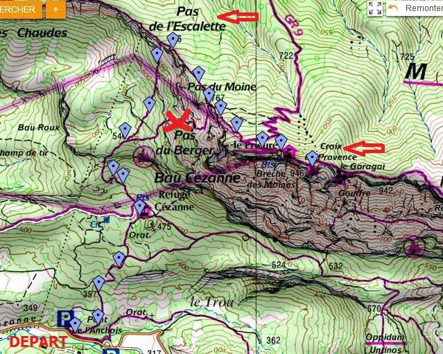 Carte IGN tracé rando Sainte-victoire Pieuré Croix de Provence
