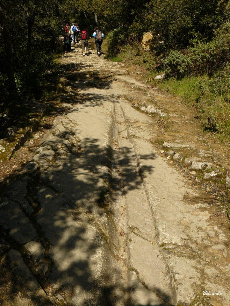 Ancienne voie tracée dans la roche et calade à lamanon