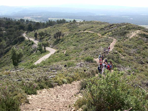 Sentier des crêtes, au loin vue sur le pays d'Aix