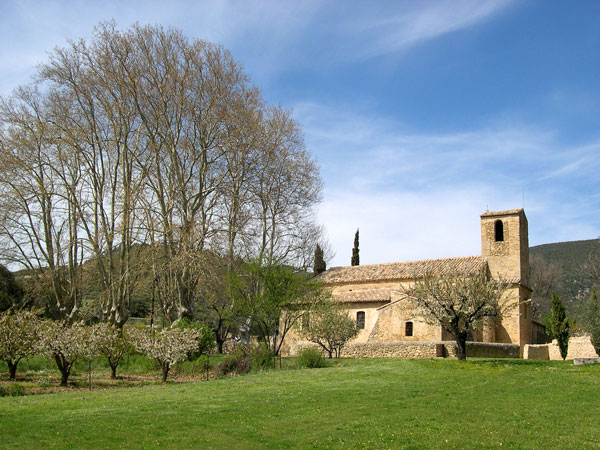 Côté sud de l'église, prairie et platanes