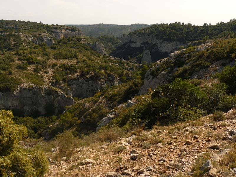 Vue sur les gorges du Régalon depuis la piste du GR
