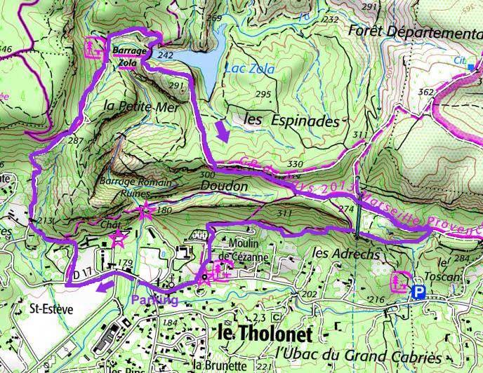Tracé sur carte ign randonnée Sainte Victoire Tholonet
