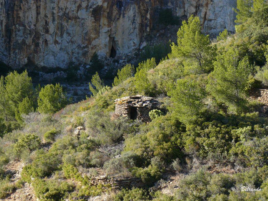 Vestiges d'une borie. Le site était autrefois cultivé ; d'où la présence de nombreuses restanques visibles dans la végétation.