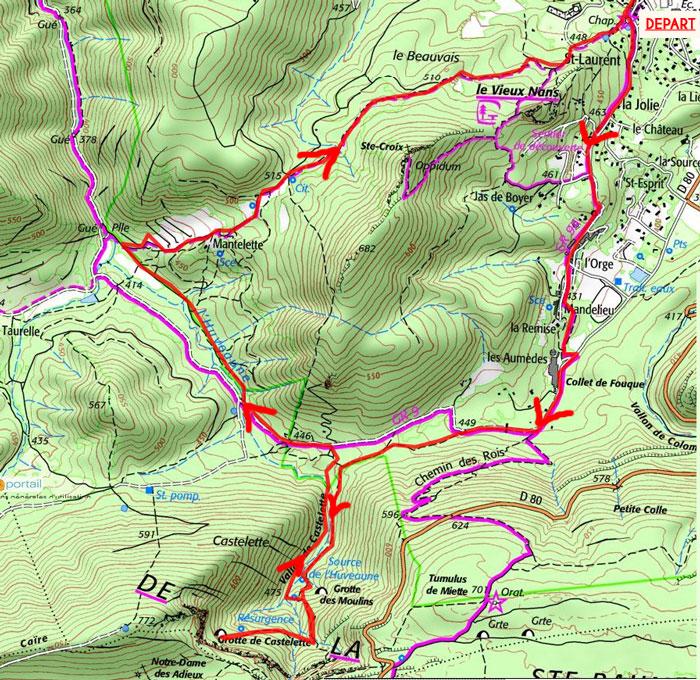 carte tracé de randonnée nans-les-pins