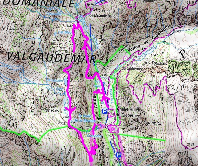 tracé de la randonnée lac lauzon