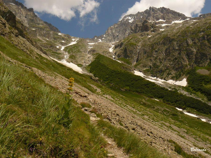 Le sentier de descente dans le vallon de Pis Baumette