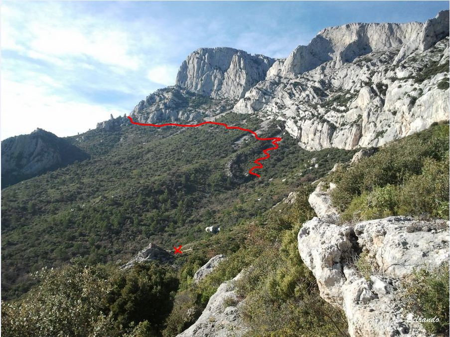 Tracé approximatif du sentier vers le refuge. Au bas le tertre indicateur de la bifurcation vers Baudino.