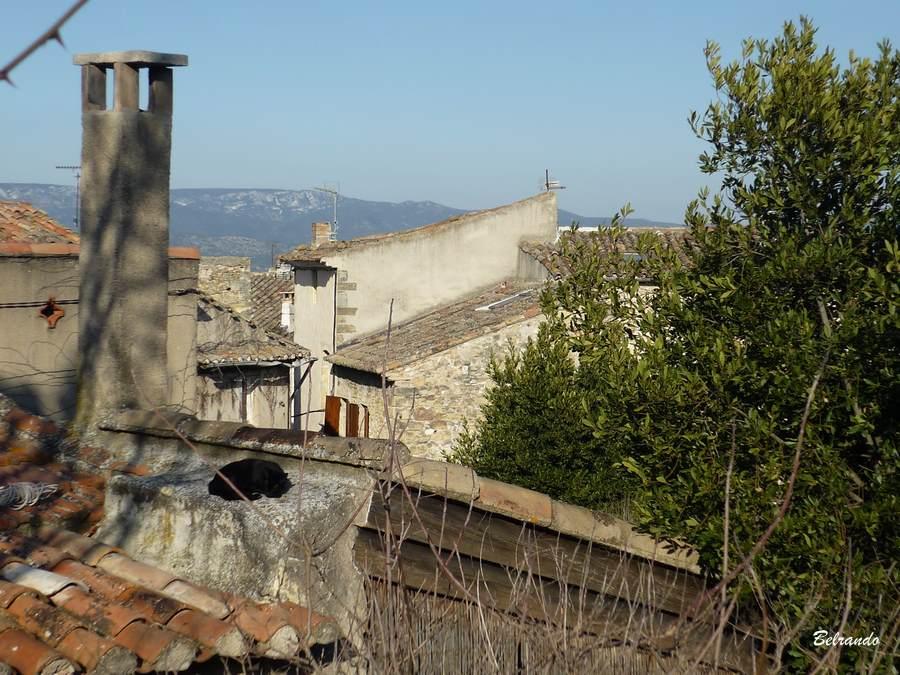 Le toîts du village et en fond le Luberon