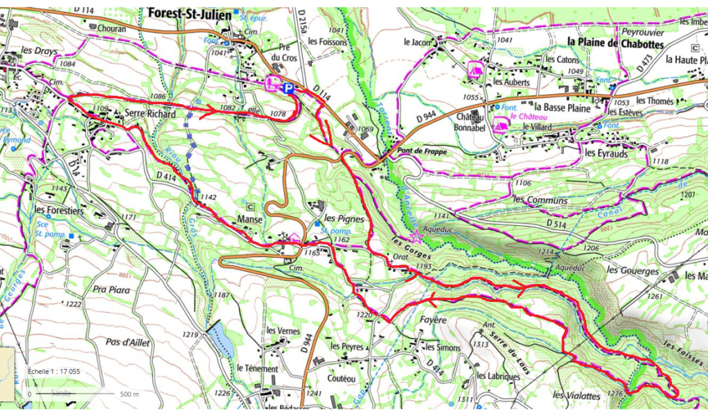 tracé sur carte ign de la randonnée