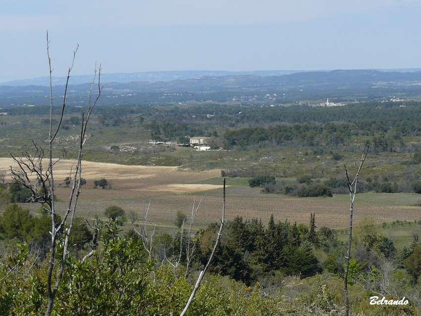 Au loin le clocher de Saint-Cannas, la chaîne des Côtes et le petit Luberon